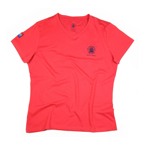 Ladies Short Sleeve V-neck Red