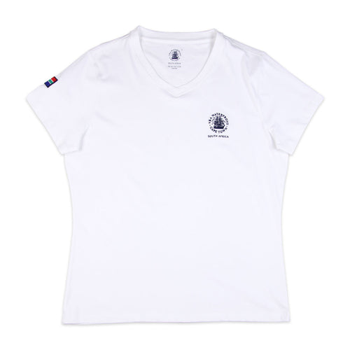 Ladies Short Sleeve V-neck White