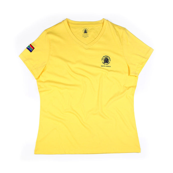 Ladies Short Sleeve V-neck Yellow