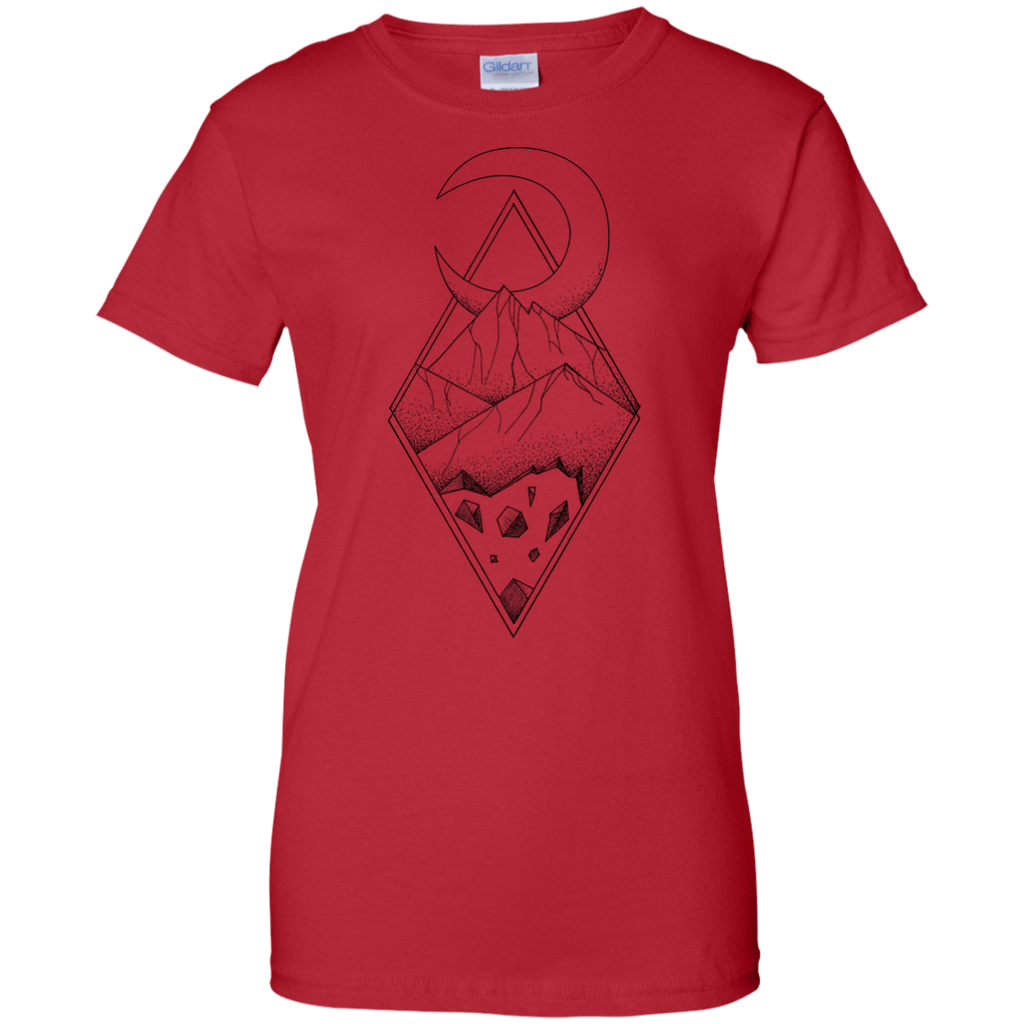 Camping - Geometric mountain in a diamonds with moon tattoo style  black and white mountain T Shirt & Hoodie