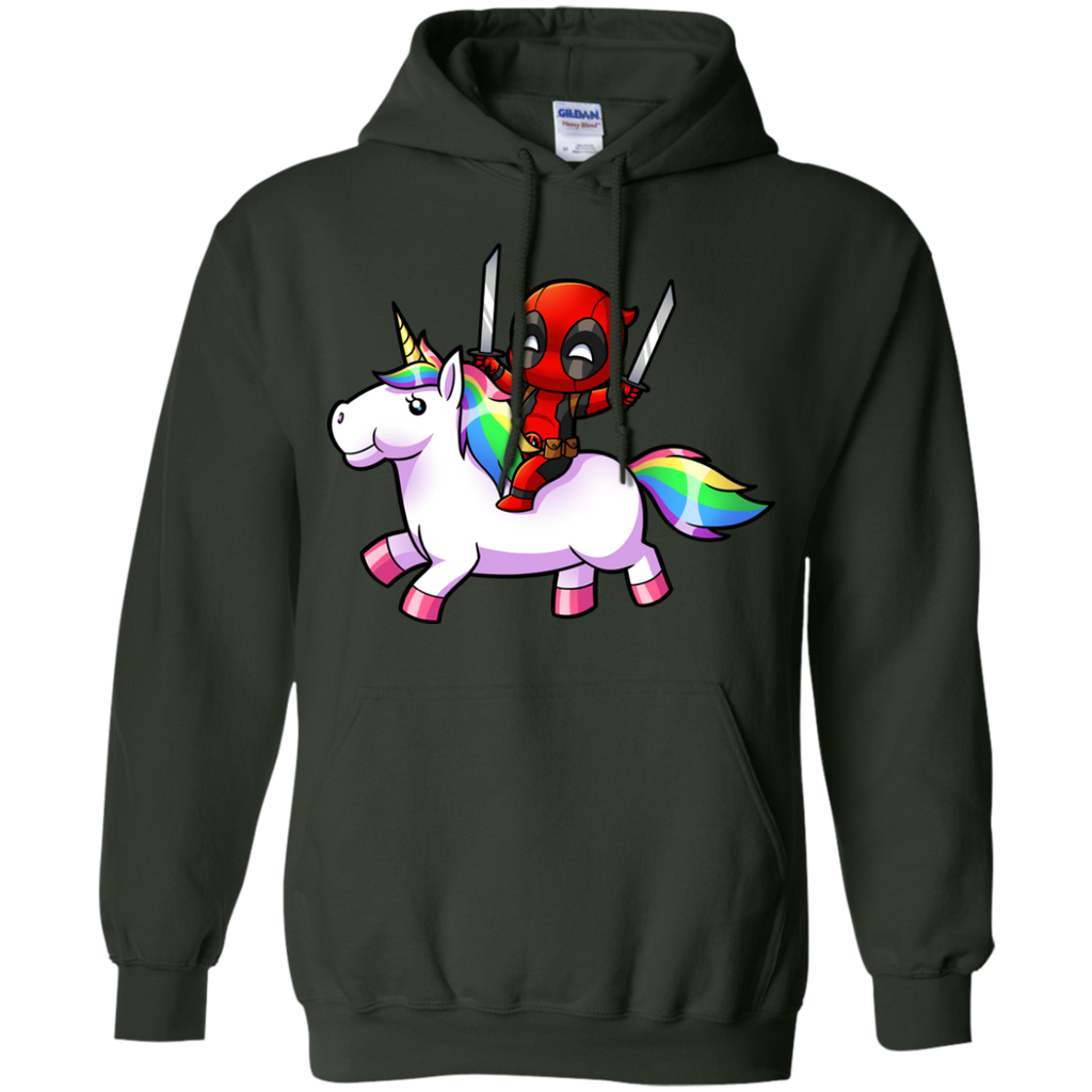 DEADPOOL - Deadpool on a Unicorn T Shirt & Hoodie