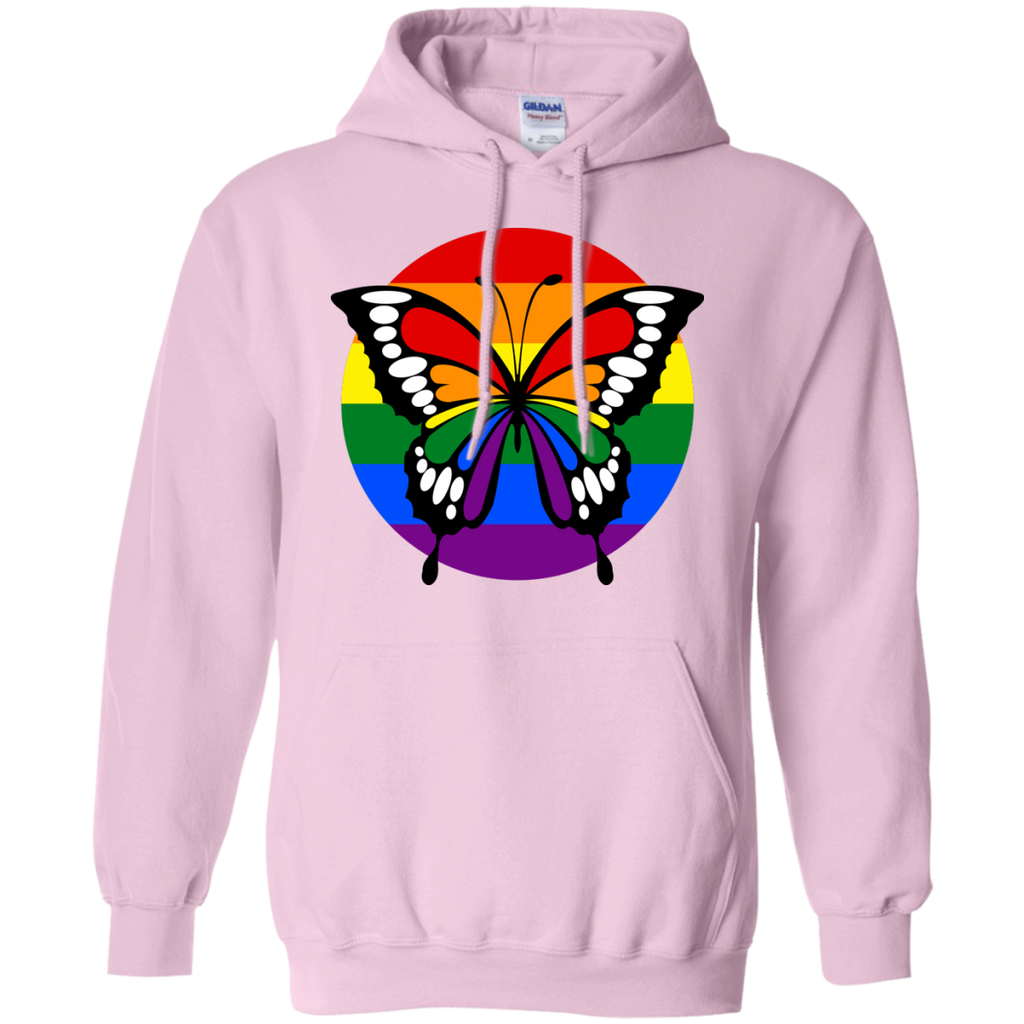 LGBT - Button Rainbow Flag Stripes Butterfly Silhouette butterfly T Shirt & Hoodie