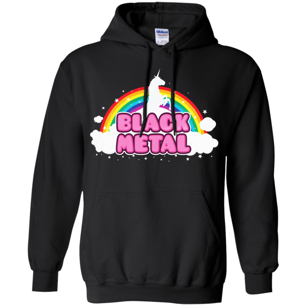 LGBT - BLACK METAL Funny Unicorn  Rainbow Mosh Parody Design music T Shirt & Hoodie