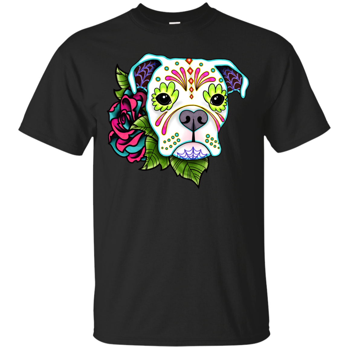 Boxer Dog - Boxer In White  Day Of The Dead Sugar Skull Dog T Shirt & Hoodie