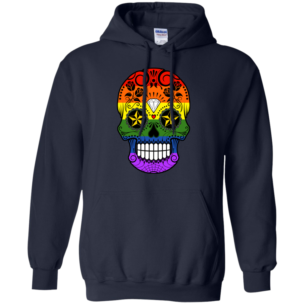 LGBT - Gay Pride Rainbow Flag Sugar Skull with Roses gay pride T Shirt & Hoodie