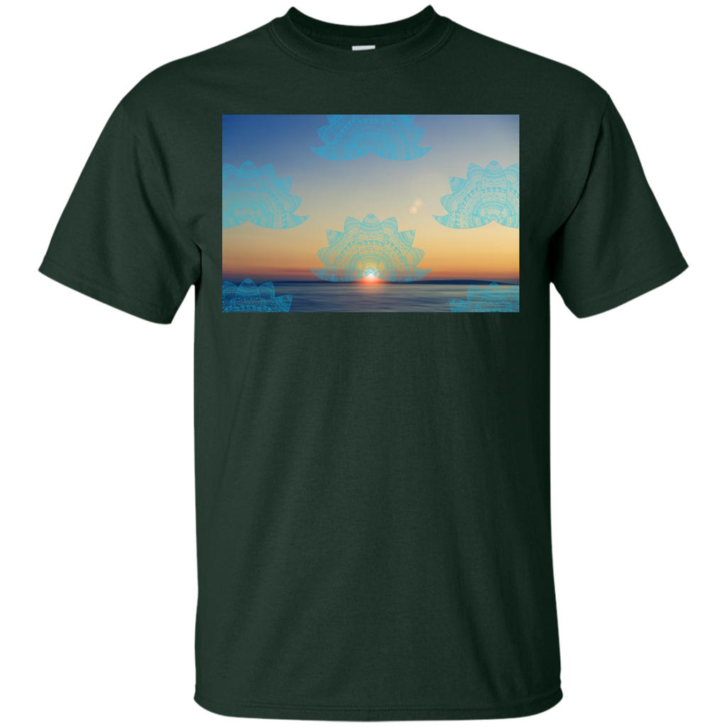 Yoga - Teal lotus doodle mandala on blurred sunset with sun flare T Shirt & Hoodie