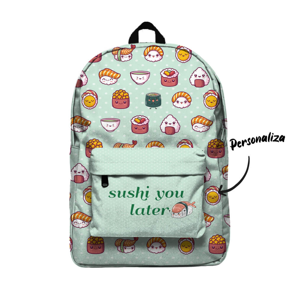 Sushi U Later Con tu nombre Mochila Backpack