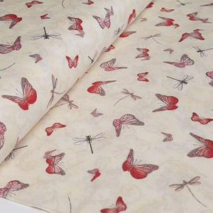 La Vie En Rose Butterflies & Dragonflies Fabric by Santoro London