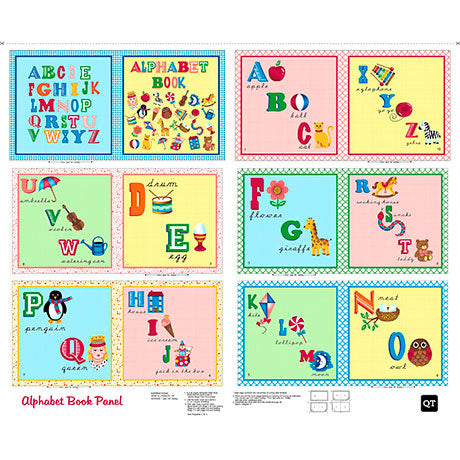 Sew & Go II - Alphabet Book Panel (Multi) Fabric