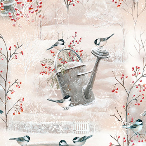 Cream Winter Garden Vignettes Fabric Designed By Sarah Summers