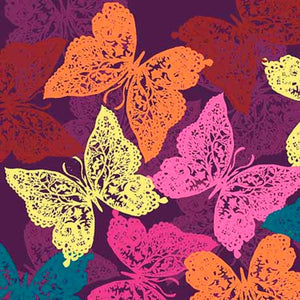 Purple Lace Butterflies - Ashtyn 26280-V - Ink & Arrow Fabric - Mystic Sunset