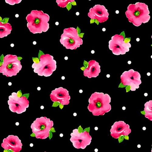 Black Tossed Floral Fabric - Brooke Collection - Mystic Sunset Fabrics