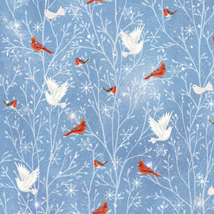 Blue Cardinals and Doves Fabric - Woodland Farm 26477-B - Mystic Sunset