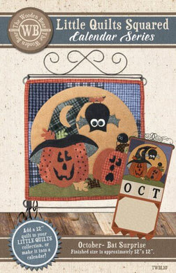 Bat Surprise Mini Quilt Pattern October: Calendar Series by The Wooden Bear TWBL10 - Mystic Sunset