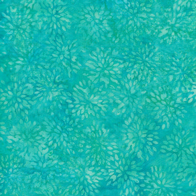 Island Batik - Small Pointed Turquoise Floral Blender Fabric