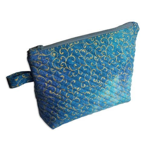 Blue Metallic Swirl Quilted Zipper Pouch - Mystic Sunset