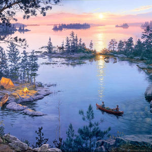 "Digital Sunrise 36"" x 44"" Lake Fabric Panel DP8906"