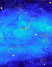 Shooting Stars Night Sky Fabric - Fairy Fantasy Collection CD7239 - Mystic Sunset