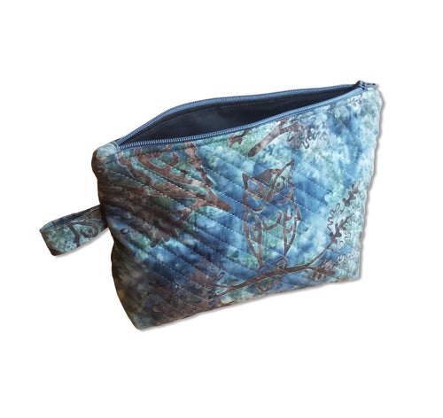 Blue Quilted Zipper Pouch - Owl Batik Fabric - Mystic Sunset