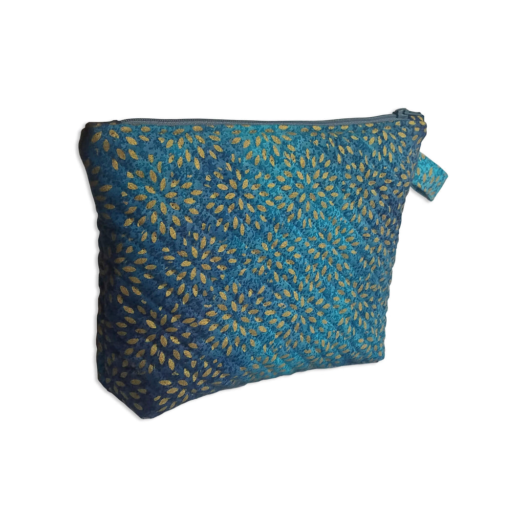 Blue Metallic Starburst Quilted Zipper Pouch - Mystic Sunset