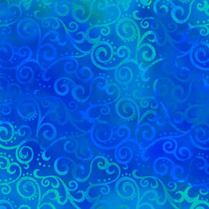 Royal Blue Ombre Scroll Fabric from Studio 8