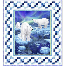 "Polar Bear 36"" Fabric Panel Northern Lights - Mystic Sunset"