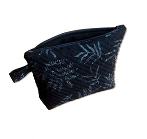 Black Quilted Zipper Pouch - Foliage Batik Fabric - Mystic Sunset
