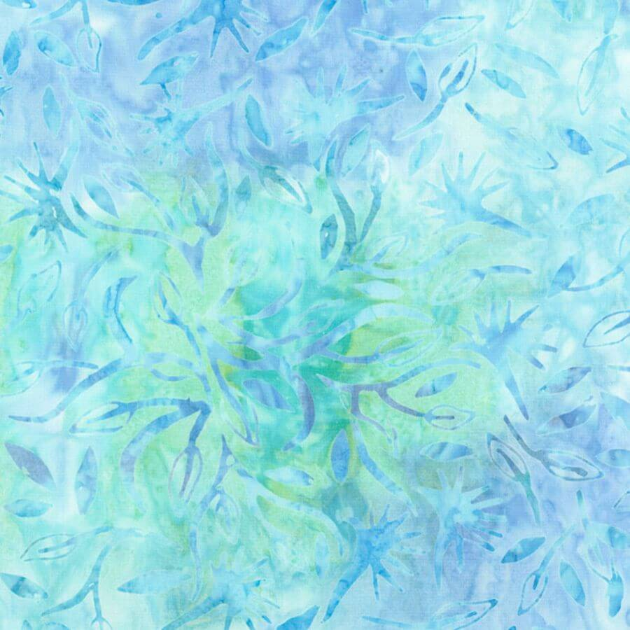 Aruba Foliage Batik Fabric - Tonga Jewel Jade Collection - Mystic Sunset