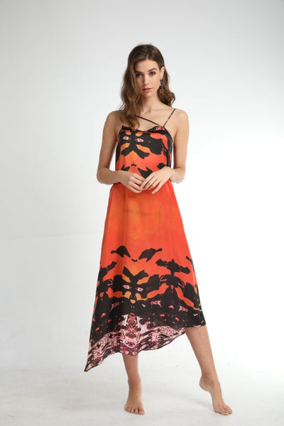'Hydra Sunset'  Silk Long Assymetric Dress