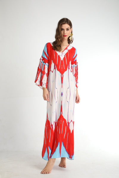 'Red Breath' Open Kaftan