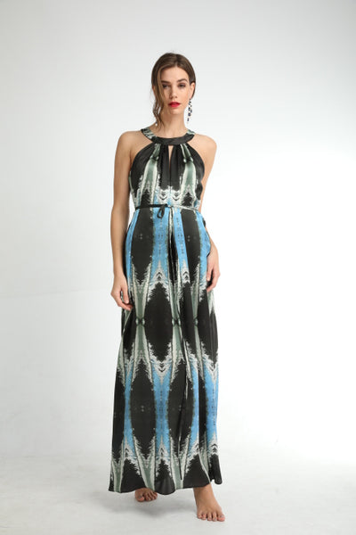 'Silver Drops' Silk Long Dress