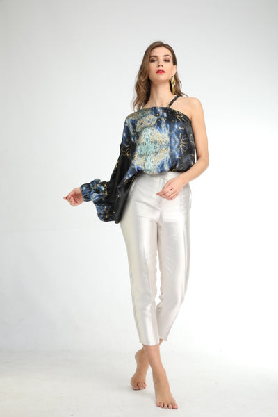 'White Snakes' Silk Top One Shoulder