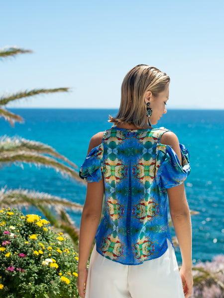 'Blue Breeze' Top Cold Shoulders