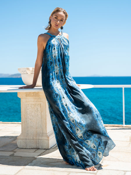 'Flisvos Jewels' Silk Long Dress