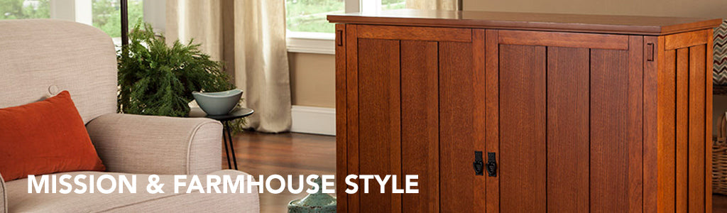 Farmhouse and Mission Furniture Style TV Lift Cabinets