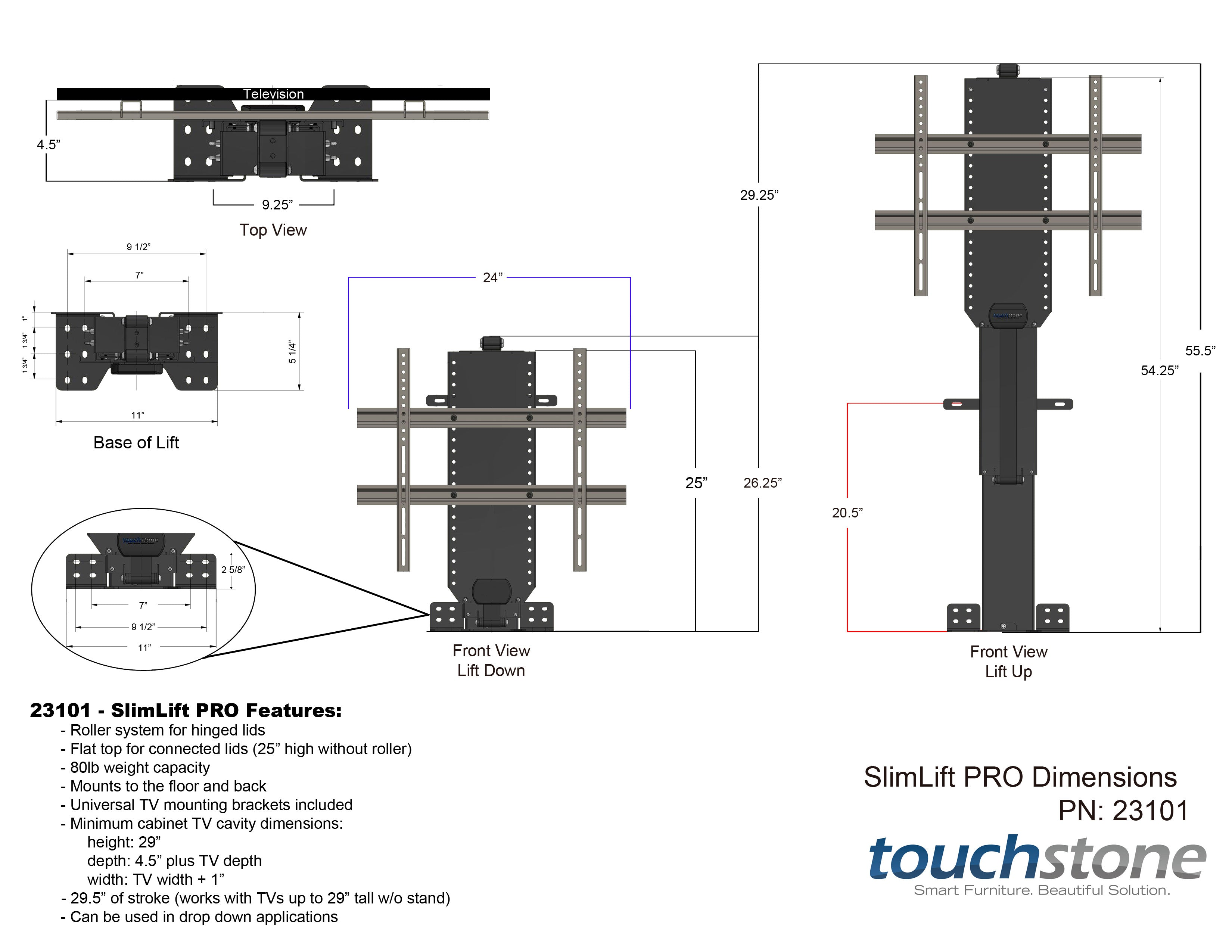 Touchstone 23101 Slimlift Pro Advanced Tv Lift Mechanism For Tvs Up Diagram Drawing Software Free In Addition Elevator Circuit On Dimensional