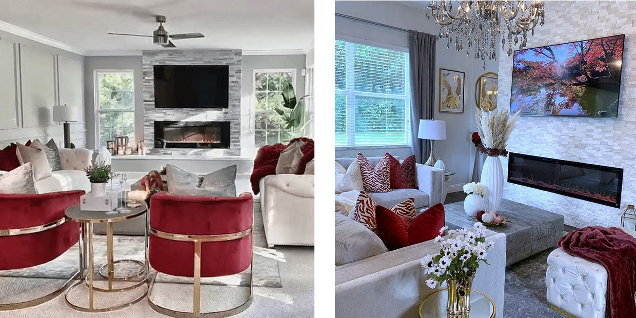 Glam style Touchstone Sideline 60 electric fireplace and Sideline Elite electric fireplace