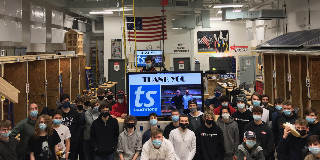 BOCES2 students thank Touchstone for donating an SRV TV lift for the classroom custom TV lift cabinet building project.