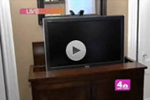 Touchstone Ellis Leather Trunk TV Lift Cabinet featured on DIY Network Medieval Man Cave episode