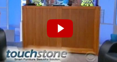 Touchstone Grand Elevate Mission TV Lift Cabinet featured on a popular game show