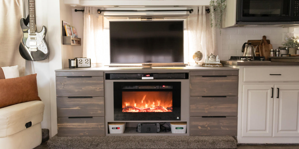 RV Makeover featuring the SRV Pro TV Lift mechanism and Sideline 28 Electric Fireplace