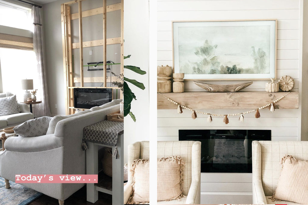 The Touchstone Sideline 50 Electric Fireplace in a shiplap DIY fireplace by @thebloomingnest