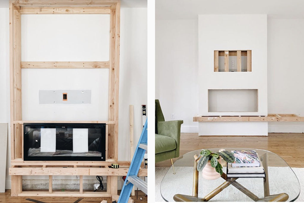 The progression of the Touchstone Sideline Elite Electric Fireplace by @thejennaogle in a mid-century-modern style with oak shelf.