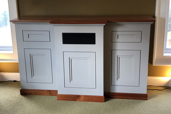 Customer Brad built pop up tv lift cabinet with Jon Peters Project plans