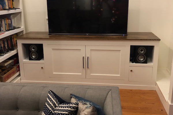 Customer Dan U. modifies the Jon Peters building plans to create a longer TV lift cabinet.