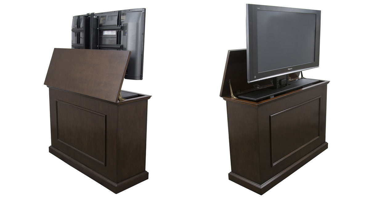 Touchstone Elevate TV Lift Cabinet from front to back