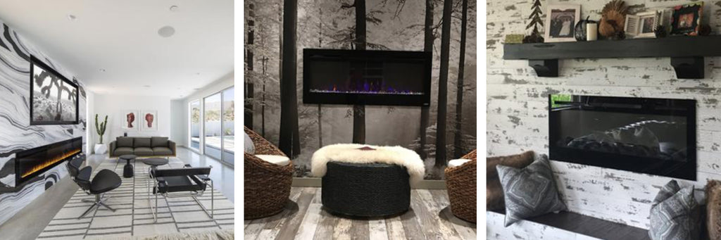 Touchstone Electric Fireplaces highlighted by bold wallpaper coverings