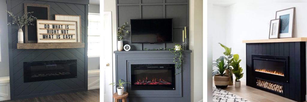Touchstone Electric Fireplaces in dramatic dark accent walls