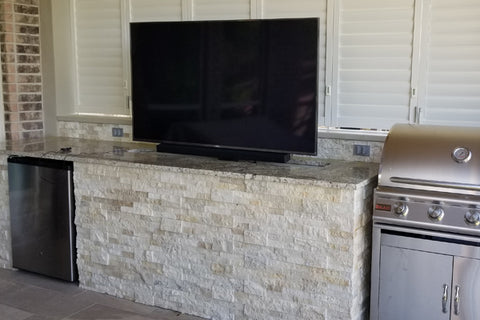 Customer Jeff's Whisper Lift Pro TV Lift integration into the outdoor barbeque area.