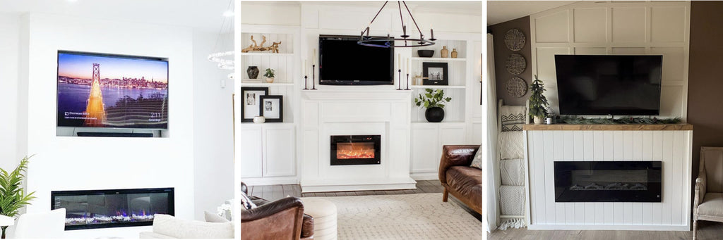 More examples of TV mounted above Touchstone electric fireplace with safe distance between